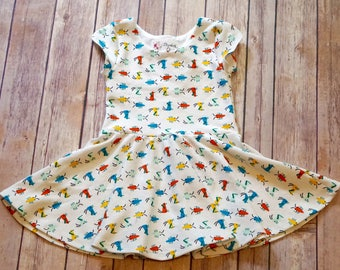 Bug Dress. Insect Dress. Cute Bug Dress. Toddler Dress. Little Girl Dress. Twirl Dress. Twirly Dress. Organic Baby Dress.