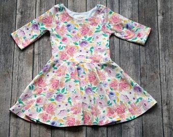 Spring Floral Dress. Floral Dress. Easter Dress. Toddler Dress. Little Girl Dress. Twirl Dress. Floral Dress. Twirly Dress. Birthday Dress.