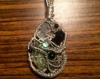 Green Calcite, Celestite, & Tourmaline Wire Wrap Necklace/Pendant