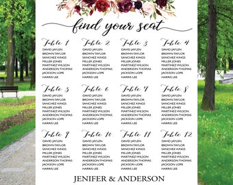 PRINTABLE Wedding Seating Chart Template, Boho Wedding Table seating assignment, Decor, Editable Text, Instant Download. Edit PDF - ASC003