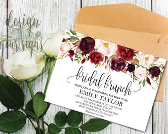 Bridal Brunch Invitation, Watercolor bridal invite, Floral Bridal Shower Card, Instant Digital Download File, Flower Bride DIY, Brunch 01
