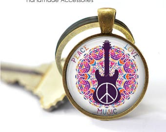 Peace Love Music Key Ring • Music Quote • Music Lover • Musician • Music Teacher • Music Student • Gift Under 20 • Made in Australia (K371)
