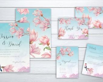Exclusive Wedding Invitation Suite Printable Floral Digital Wedding Blue Botanical Garden Bird Magnolia Blue Sky Wedding Invite WS-025