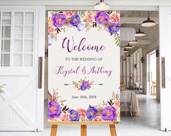 Wedding Welcome Sign Purple Violet Lavender Peonies Floral Boho Digital Wedding Reception Sign Bridal Wedding Welcome Poster WS-038