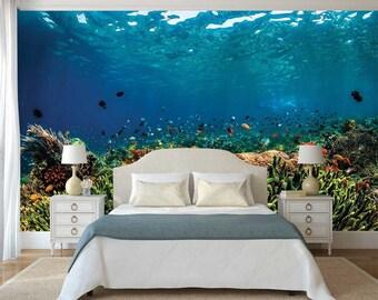 Ocean Underwater Wallpaper, Wall Mural Underwater, Corals Wall Decal, Wallpaper Fishes