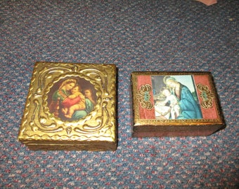 Pair Vintage Florentine Wood Gold Gesso Madonna & Child Boxes Italy