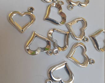 Open heart charm heart clasp antique silver colored metal jewelry finding, bracelet, necklace