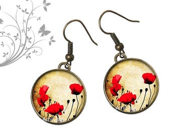 Earrings vintage flowers, poppy red flowers, Garden, spring, summer
