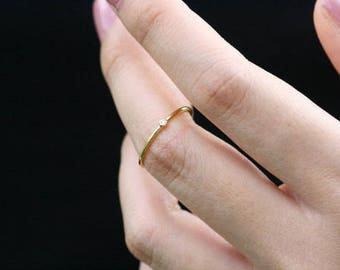 Tiny Solitaire Ring, Gold Moonstone Ring, Moonstone Cabochon Ring, Mini Birthstone Ring, Little gold Ring