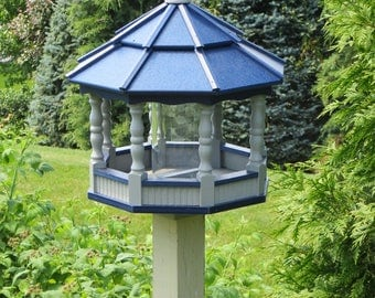 Large Spindle Gazebo Bird Feeder Wood Amish Homemade Handcrafted Poly