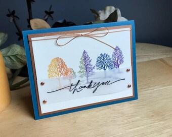 Tree Thank you card, handmade thank you card, lovely as a tree thank you card, tree card