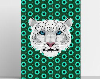 Snow Leopard Print - Geometric Print - Original Design - Animal Print