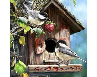 2 birds wit birdhouse diamond painting, 3d painting, hobby for kids and adults, diy kits, Free shipping! 3D Embroidery set Cross Stitch
