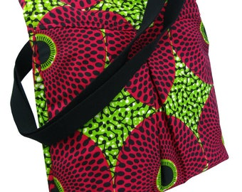 African Print Tote Bag, Shoulder Bag Everyday Bag, Beach Bag, Holiday Bag, Wax Print, Shopping Tote, Wax Print Shopping Bag Green & Cerise