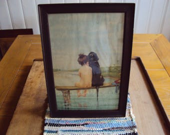 Framed Picture, Wall Picture, Hanging Wall Picture, Little Girl Picture, Dog Picture, Bathroom Picture, Framed Wall Picture, Picture Frame