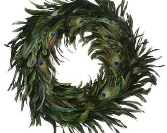Peacock Feather Wreath | Feather Wreath | Natural Wreath | Peacock Feathers