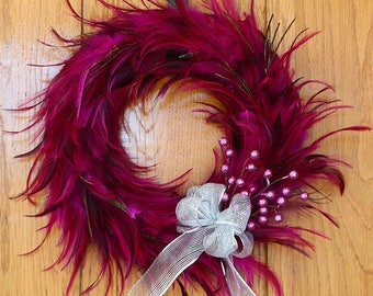 """Pink Hackle Feather Wreath 18"""" 