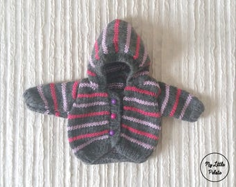 """Doll """"Corolle"""" - grey/pink hooded vest"""