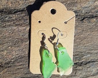 Sterling, green, homemade seaglass earrings.