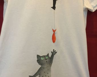 "Hand painted t-shirts with cats: ""I fooled the fish!"""