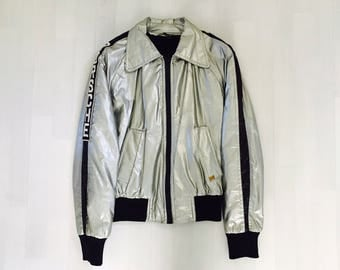 1970s Porsche Silver Jacket, Racing Jacket Vintage by Skol, Porsche Racing Car Jacket