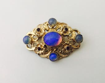 Vintage Opal And Silver Brooch, Opal Stones and Silver Pin