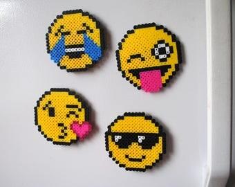 Emoji Perler bead magnets