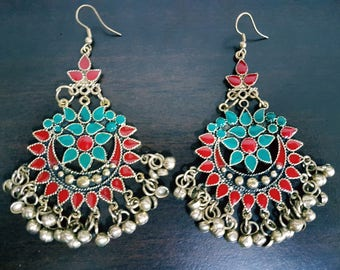 Red and Teal Enamel Silver oxidised long chandelier chandbalis party festive wear