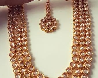 Long Indian, Pakistani 2 & 3 layer polki stones bridal haar, party wear bridal wear, party wear (2)