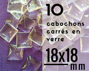 10 cabochons square glass - 18 mm - set of 10 cabochons