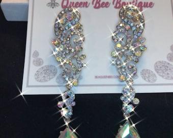 Austrian Crystal Long Cluster Chandelier Earrings