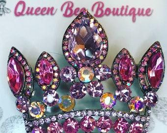 Pink Austrian  Crystal Crown Sash Pin