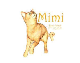 Cat Mimi 2, watercolor cat,  beige, Watercolor Clipart, Baby, Child, Fun, Craft