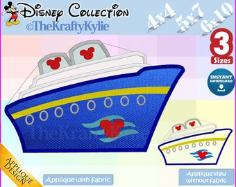 Disney CRUISE APPLIQUE DESIGNS - 3 Sizes 4x4, 5x7, 6x10