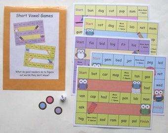 Teacher Made Literacy Center Educational Learning Resource Short Vowel Games