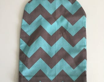 Ready to ship, ostomy bag cover , turquoise and grey chevron , solid grey on the back