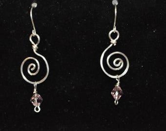 sprial drop earrings with pink crystal
