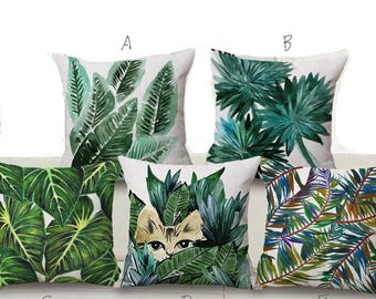 Palm Tree Pillow Case Banana Leaf Cushion Cover Throw Pillowcases for Home Sofa Couch