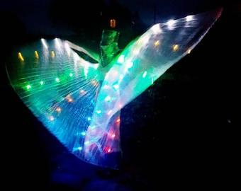 Light up LED shiny iridescent hologram pleated festival carnival dance costume angel fairy wings jacket cape burning man Coachella glasto UK
