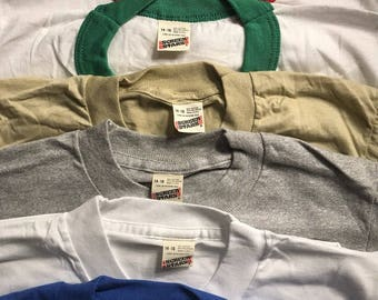 Lot of 102 Vintage Screen Stars youth SHIRTS // 50/50 blend paper thin // blank deadstock t-shirt // youth 14-16 adult XS 6 colors ringers