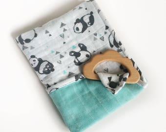 Panda Muslin lovey / Security blanket/ Burp cloth /personalized lovey / monogrammed lovey/ Printed Blanket