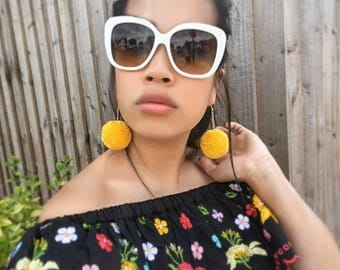 Yellow handmade pompom, gold chain, drop earrings