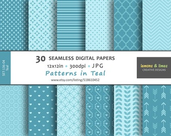 Teal Digital Papers - JPG-300dpi-12x12in - Seamless Pattern, Backgrounds, SET-136-04-Teal, turquoise color, teal pattern, aqua