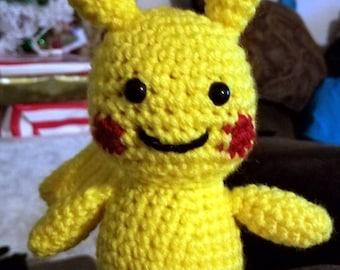 Pokemon Inspired Pikachu Amigurumi Stuffed Toy Crochet Handmade