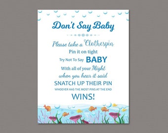 Dont Say Baby Game Printable, Don't Say Baby Sign, Under the Sea Theme, Baby Shower, Underwater, Ocean Fish, Clothespin Game Download, SBS5