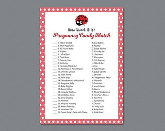 Pregnancy Candy Match Game Printable, How Sweet it is, Red Ladybug Theme, Baby Shower Games, Fun Activities, Candy Matching Game, B013