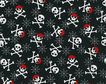 Fabulous Foxes Skull and Cross Bones Pirates  Cotton Fabric  -  Robert Kaufman Fabrics - Boys Fabric