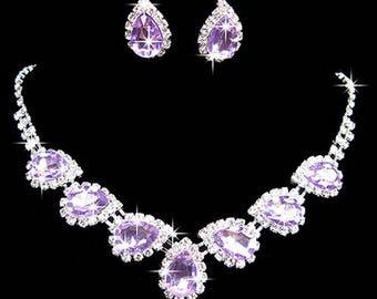 Purple Rhinestone, Crystal, CZ necklace set, wedding bridal jewelry set costume