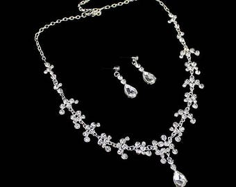 Rhinestone, Crystal, CZ necklace set, wedding bridal jewelry set costume