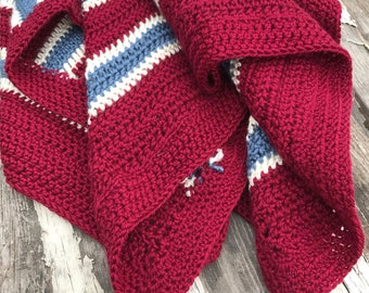 "Homemade Afghan, 44x47"", Patriotic Blanket, Lap Blanket, 4th of July Decor, Farmhouse Blanket, Crochet Blanket, Striped Throw, Homemade"